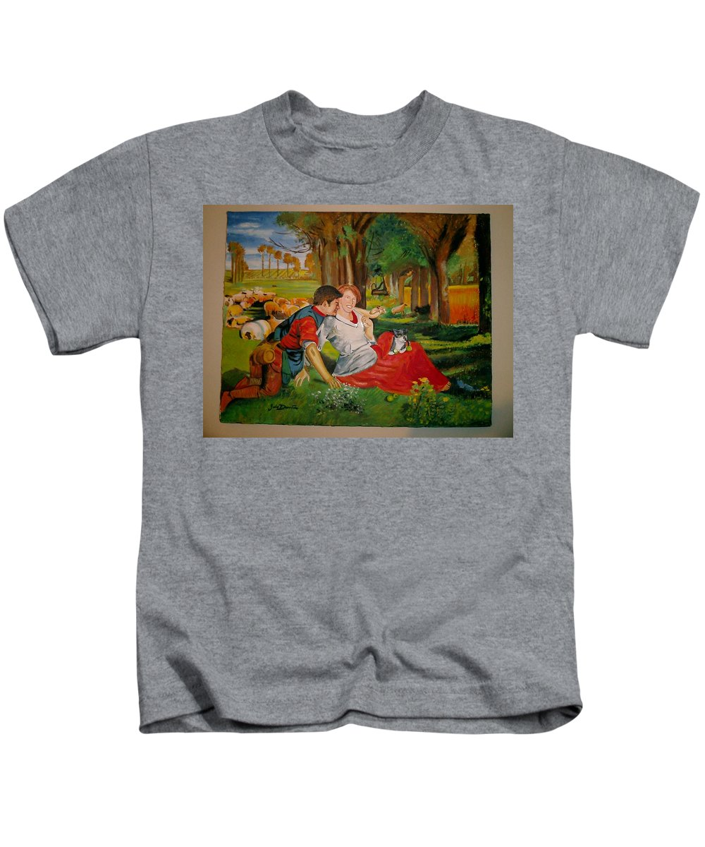 Kids T-Shirt featuring the painting double portrait of freinds Gunner and Jessie by Jude Darrien