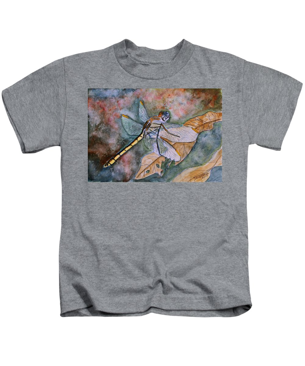 Dragonfly Kids T-Shirt featuring the painting Dragonfly by Derek Mccrea