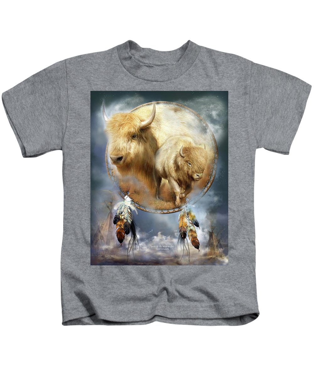 Carol Cavalaris Kids T-Shirt featuring the mixed media Dream Catcher - Spirit Of The White Buffalo by Carol Cavalaris