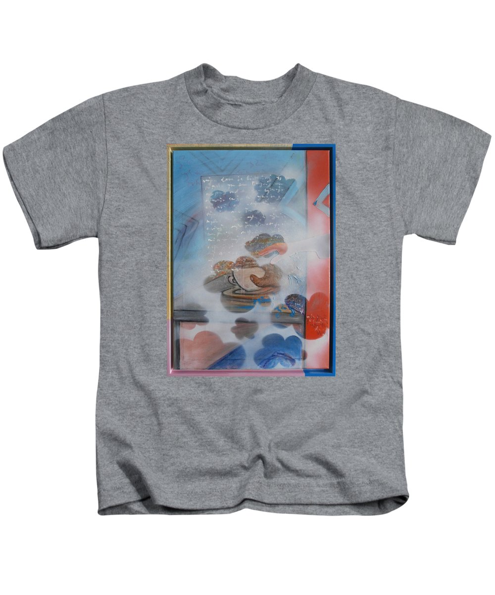 Coffe Kids T-Shirt featuring the painting Drinking Coffe by Veronika Ban