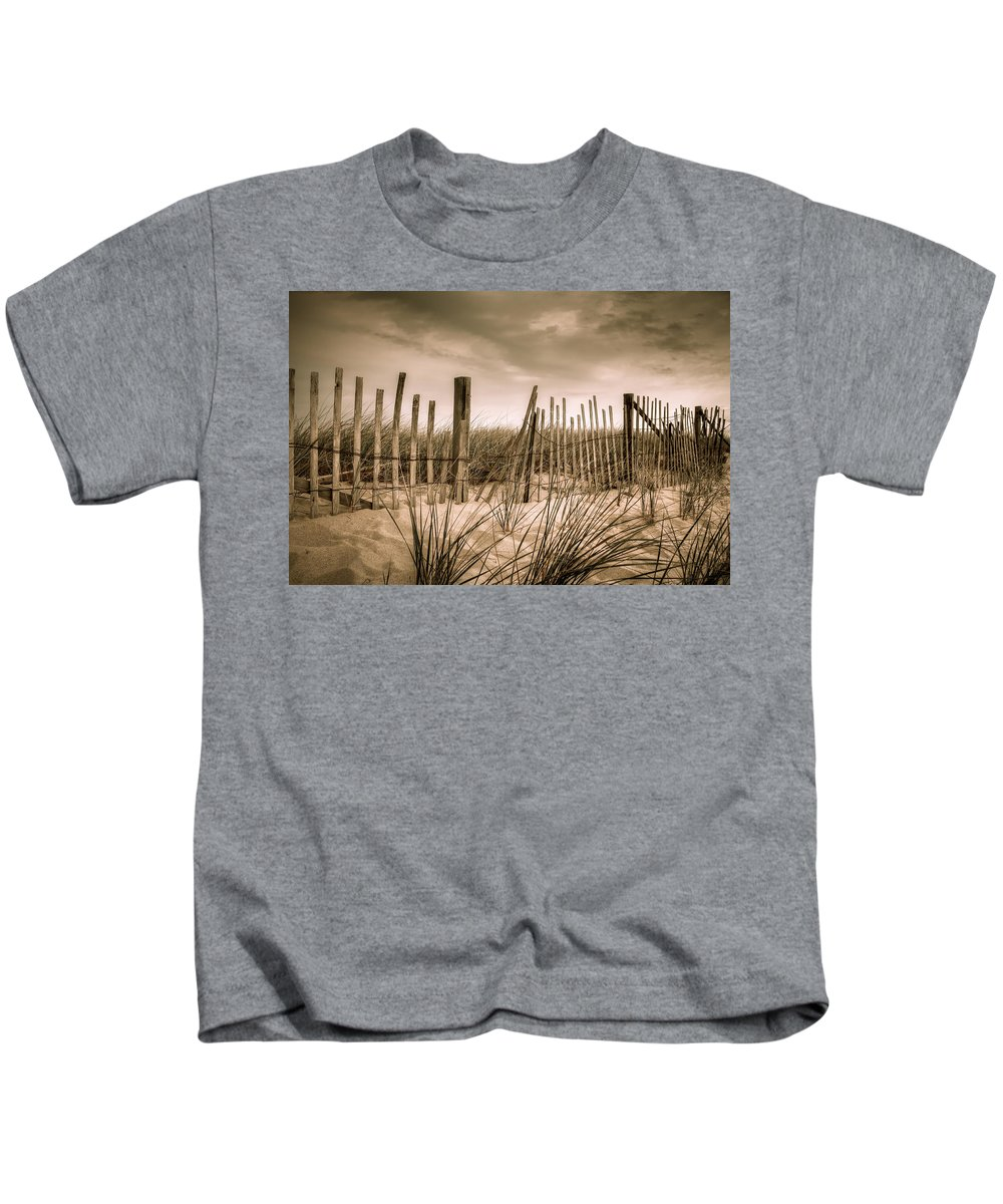 Landscape Kids T-Shirt featuring the photograph Dune Fence by Brian Caldwell