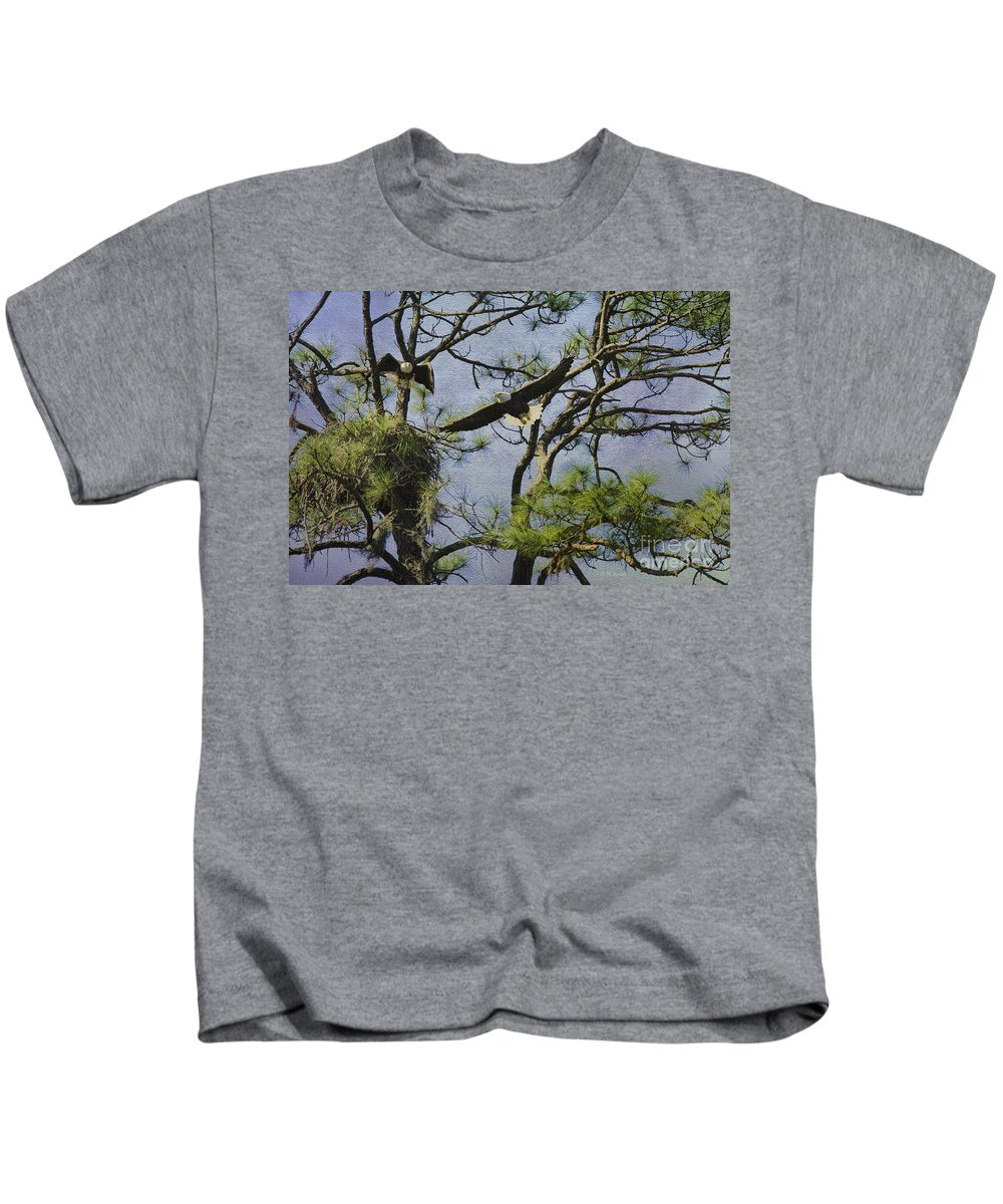 Eagles Kids T-Shirt featuring the photograph Eagle Pair And Nest by Deborah Benoit