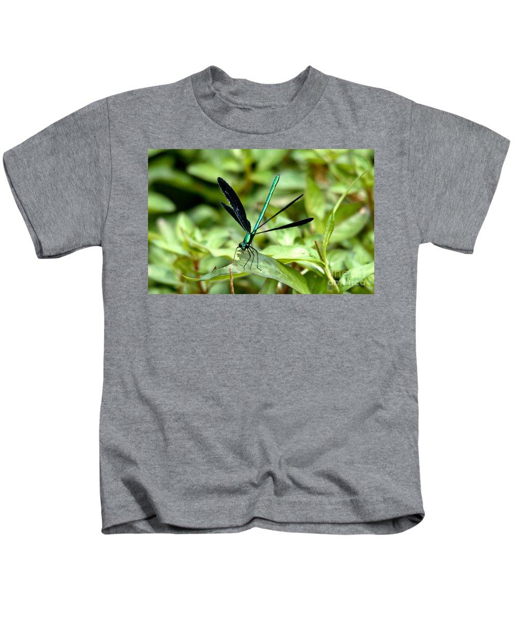 Ebony Jewelwing Kids T-Shirt featuring the photograph Ebony Jewelwing by Cheryl Baxter