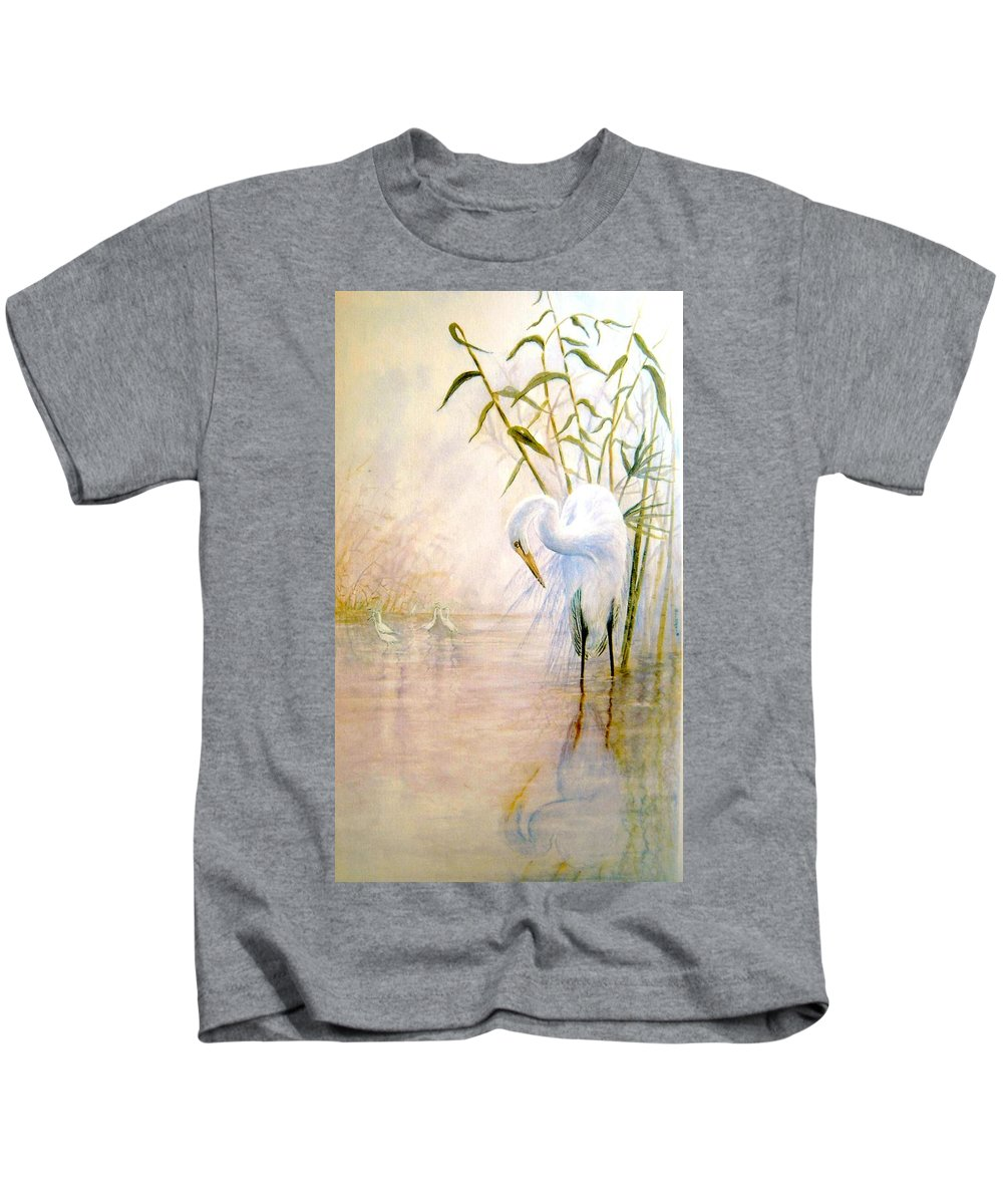Eret; Bird; Low Country Kids T-Shirt featuring the painting Egret by Ben Kiger
