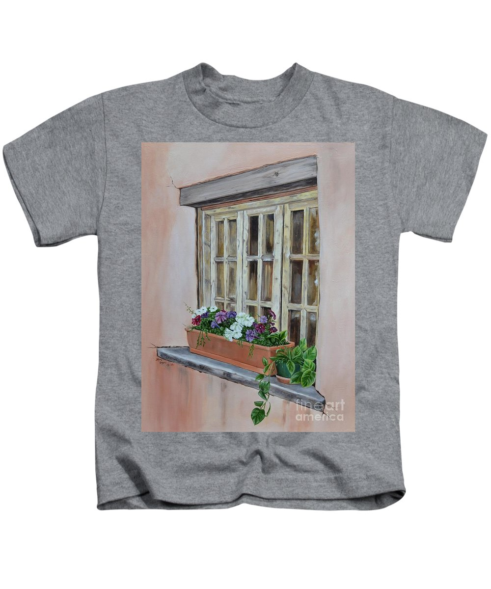 Adobe Kids T-Shirt featuring the painting Elayne Look Through The Window by Mary Rogers