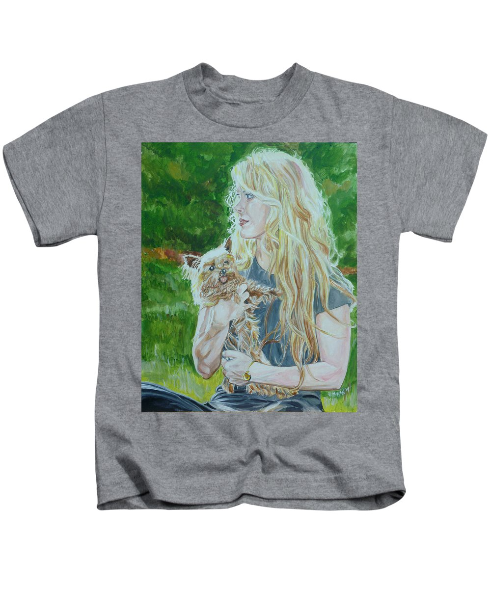 Ccm Kids T-Shirt featuring the painting Elizabeth South And Ginger by Bryan Bustard