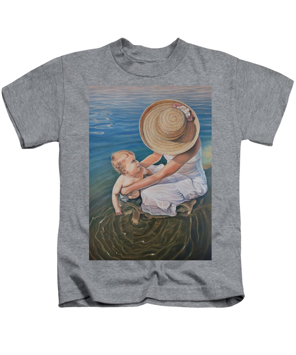 Realistic Kids T-Shirt featuring the painting Encircled By Love by Holly Kallie