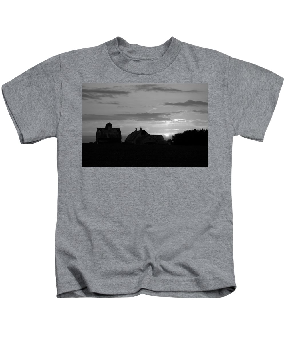 Day Kids T-Shirt featuring the photograph End Of Day Bw by Bonfire Photography