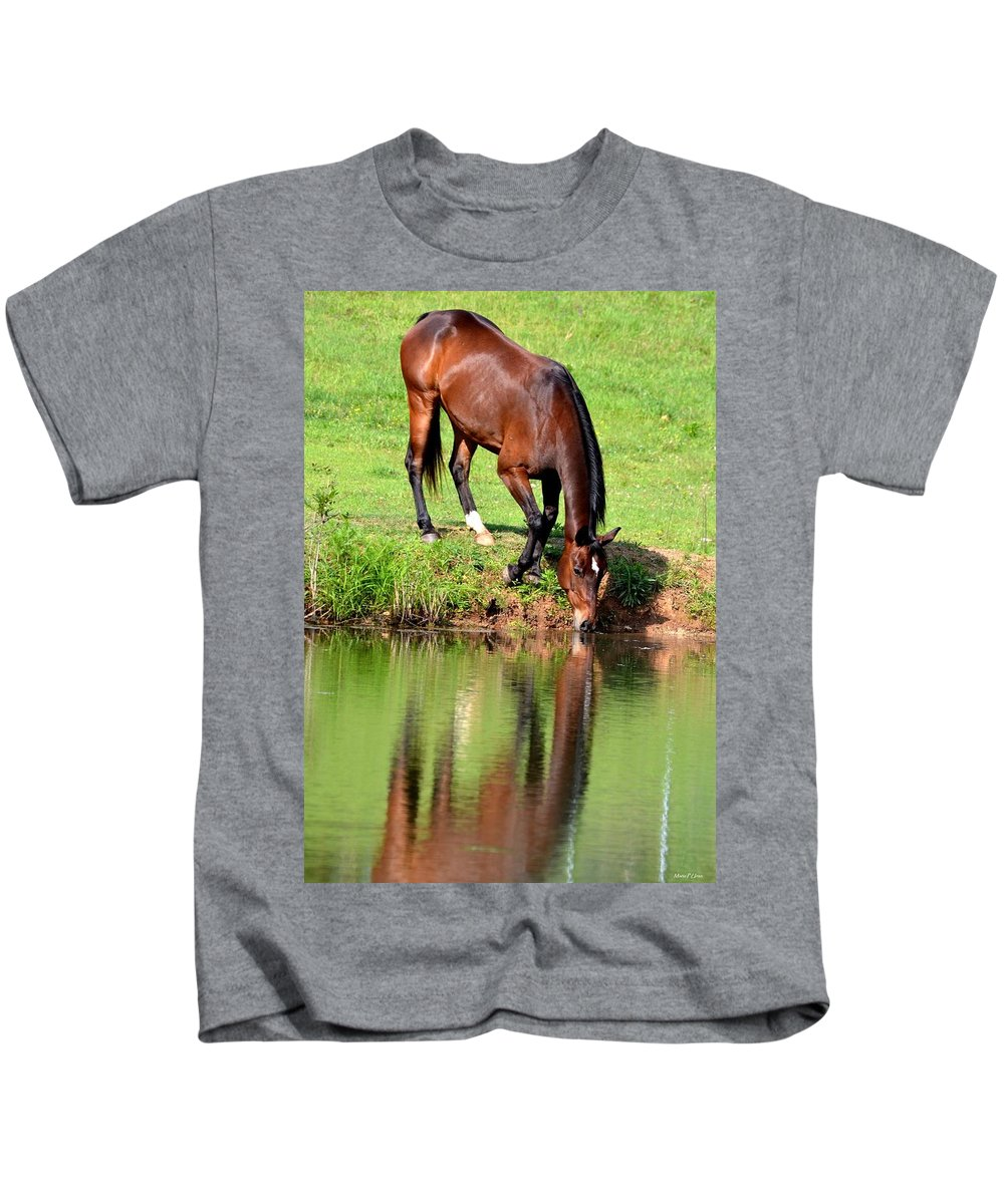 Equine Reflections Kids T-Shirt featuring the photograph Equine Reflections by Maria Urso