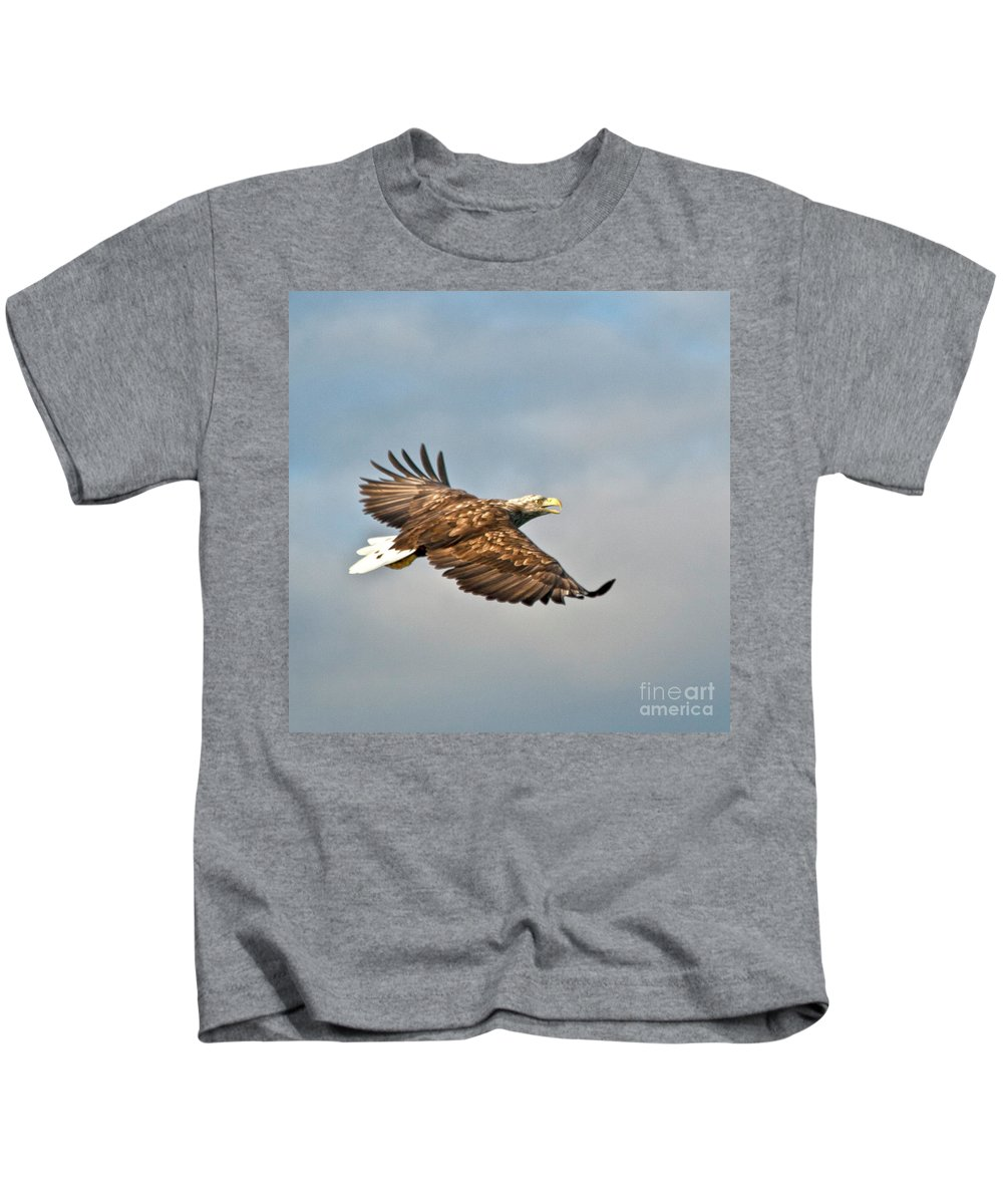White_tailed Eagle Kids T-Shirt featuring the photograph European Flying Sea Eagle 3 by Heiko Koehrer-Wagner