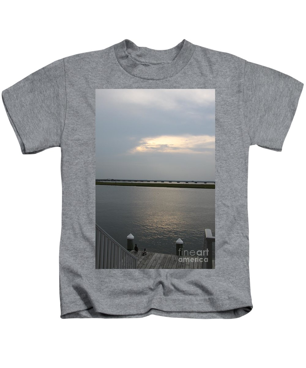 Chincoteague Sound Kids T-Shirt featuring the photograph Evening Light Over The Sound by Christiane Schulze Art And Photography