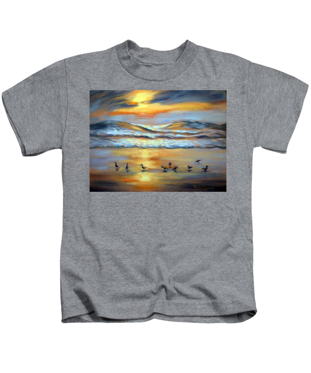 Sunset Kids T-Shirt featuring the painting Evening Prayers by Karin Leonard