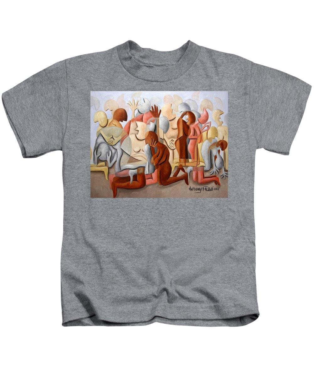 Every Knee Shall Bend Every Mouth Shall Confess Jesus Is Lordevery Knee Shall Bend Framed Prints Kids T-Shirt featuring the painting Every Knee Shall Bend Every Mouth Shall Confess Jesus Is Lord by Anthony Falbo