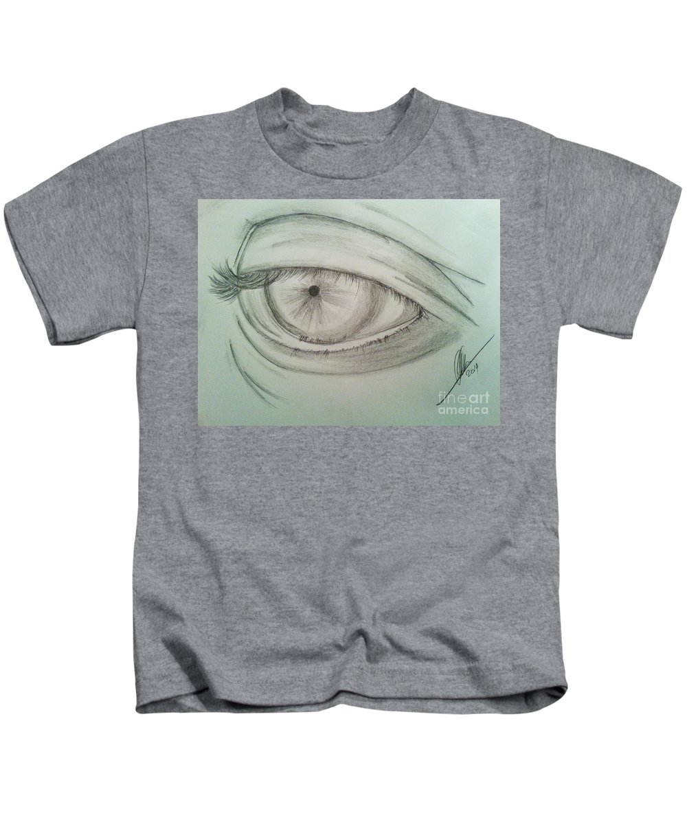 Eye Kids T-Shirt featuring the drawing Eye by Collin A Clarke