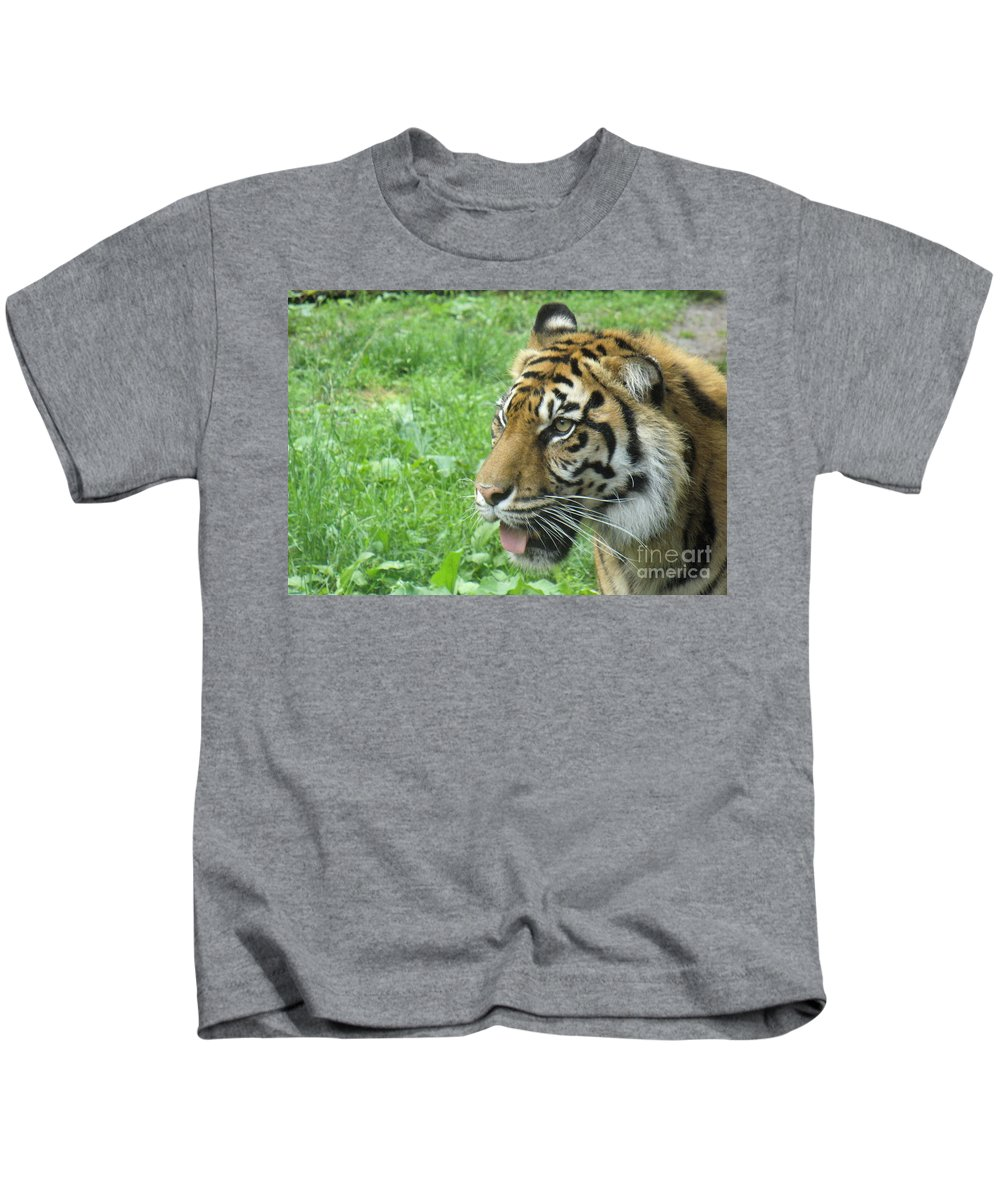 Animal Kids T-Shirt featuring the photograph Eye Of The Tiger by Lingfai Leung
