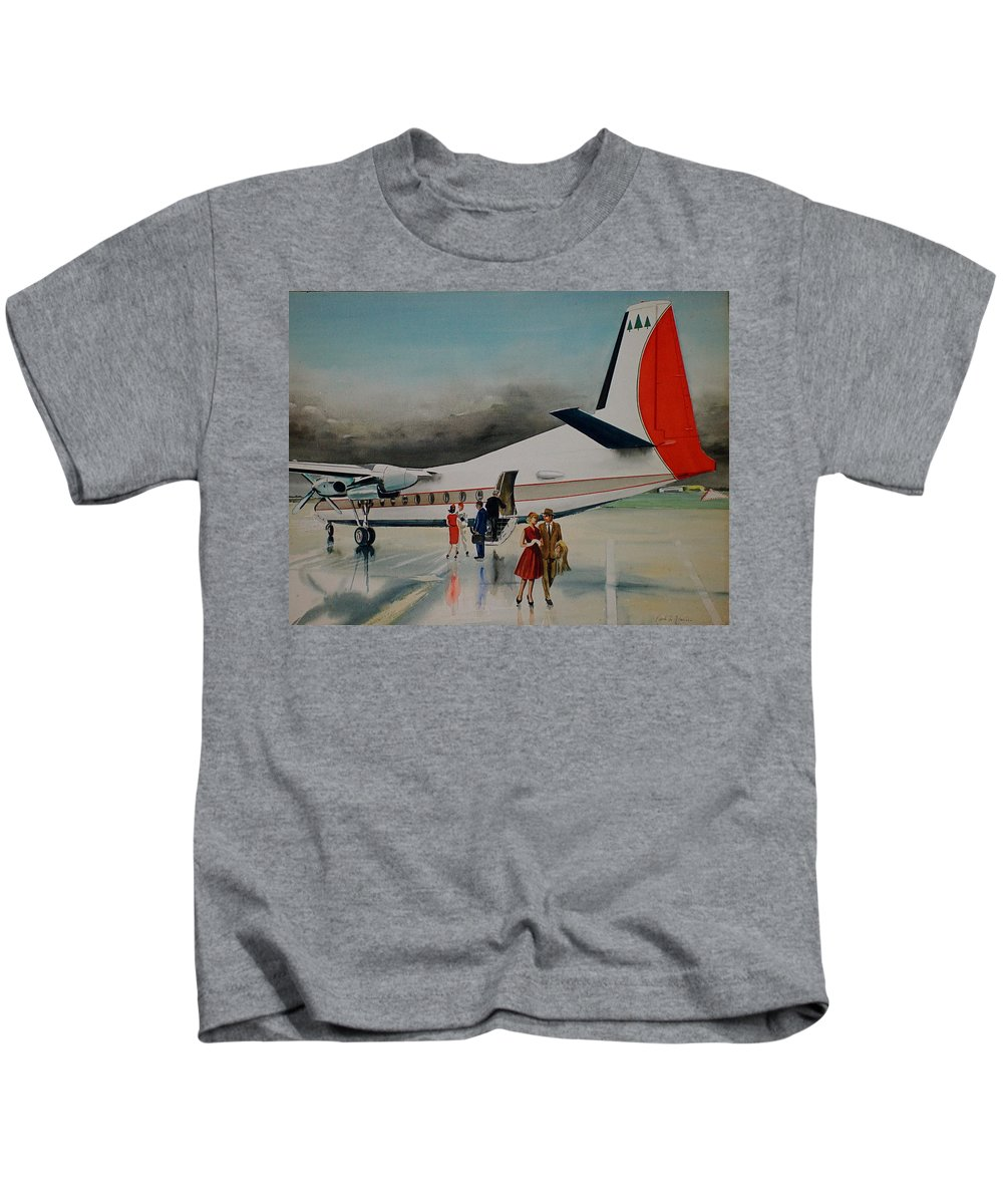 Private F-27 Deplanes After Rainstorm Port Columbus Ohio Kids T-Shirt featuring the painting F-27 At Columbus Ohio by Frank Hunter