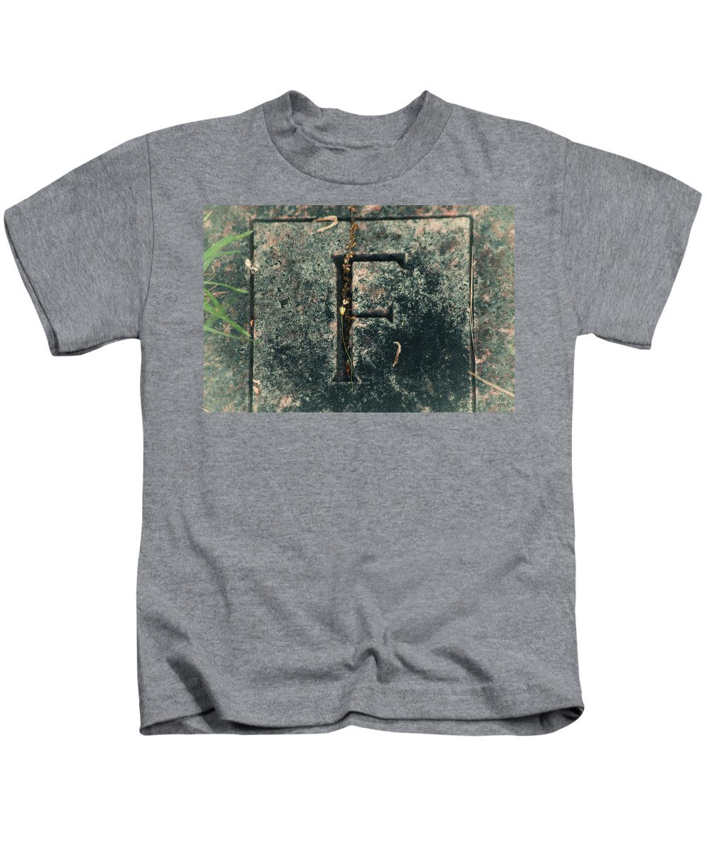 Letter F Kids T-Shirt featuring the photograph F by Karol Livote