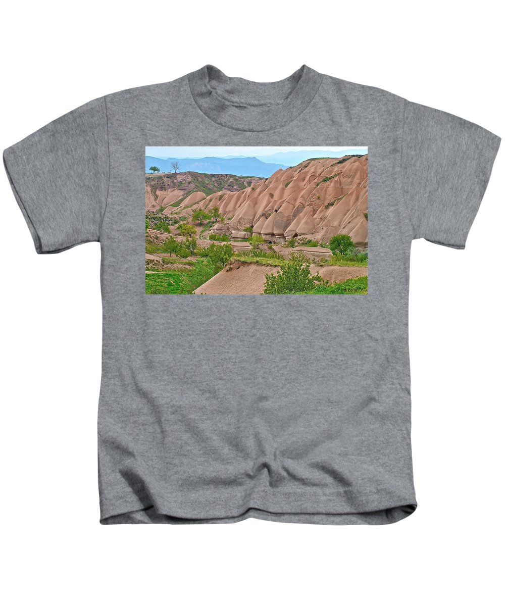 Fairy Chimneys In The Making Kids T-Shirt featuring the photograph Fairy Chimneys In The Making In Cappadocia-turkey by Ruth Hager