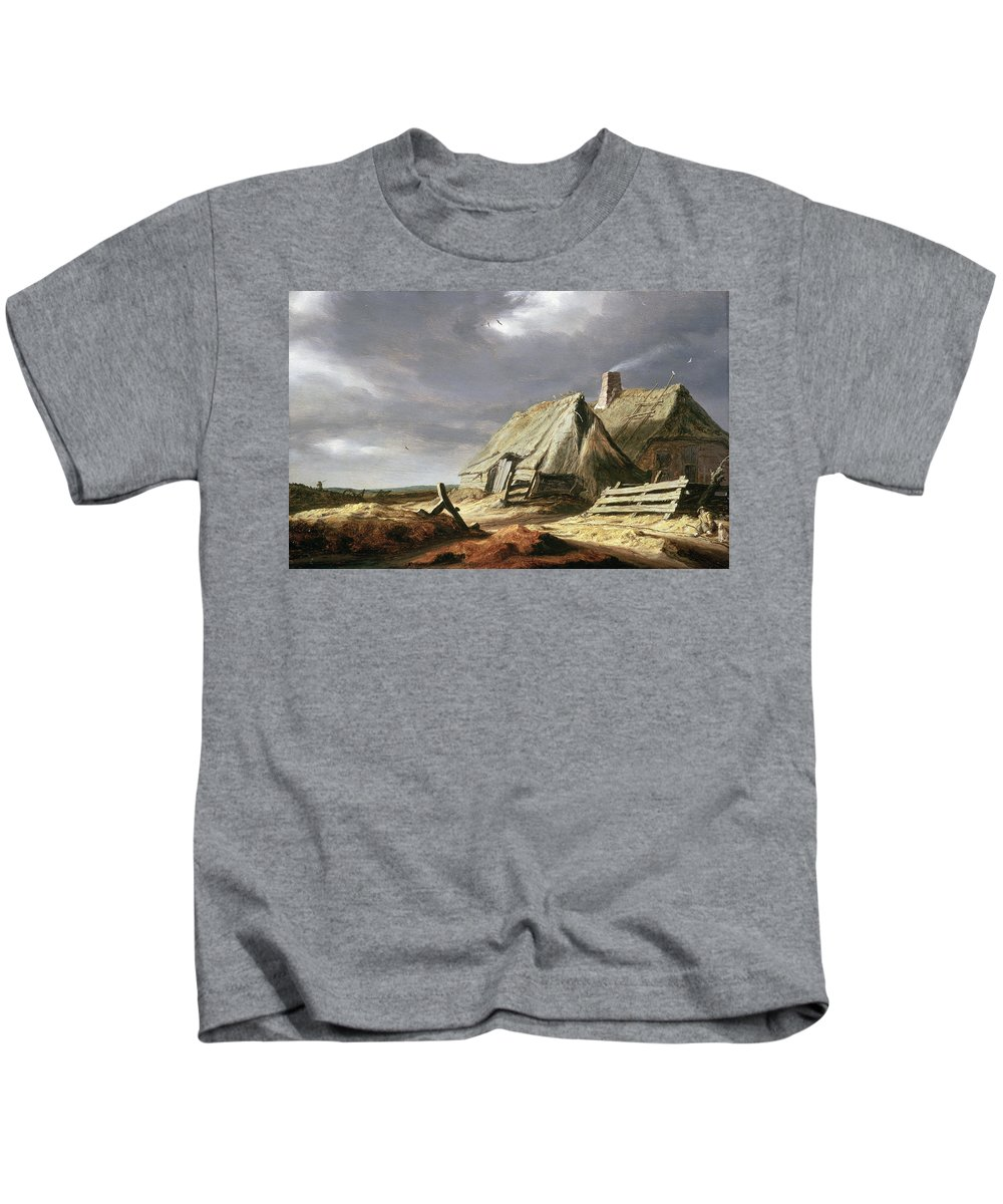 Overcast Kids T-Shirt featuring the painting Farm Buildings In A Landscape, C.1625-28 by Salomon van Ruisdael or Ruysdael