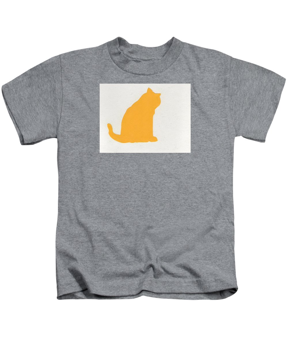 Cats Kids T-Shirt featuring the drawing Fat Cat Two by Catherine Helmick