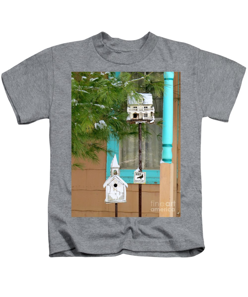 Bird Houses Kids T-Shirt featuring the photograph Feathered Friends Welcome by Nancy Patterson