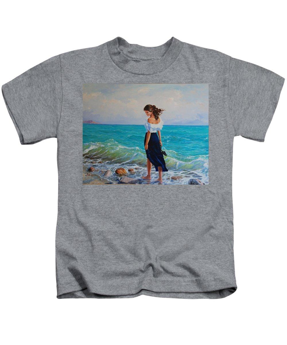 Seascape Kids T-Shirt featuring the painting Fedio Eimi by Sefedin Stafa