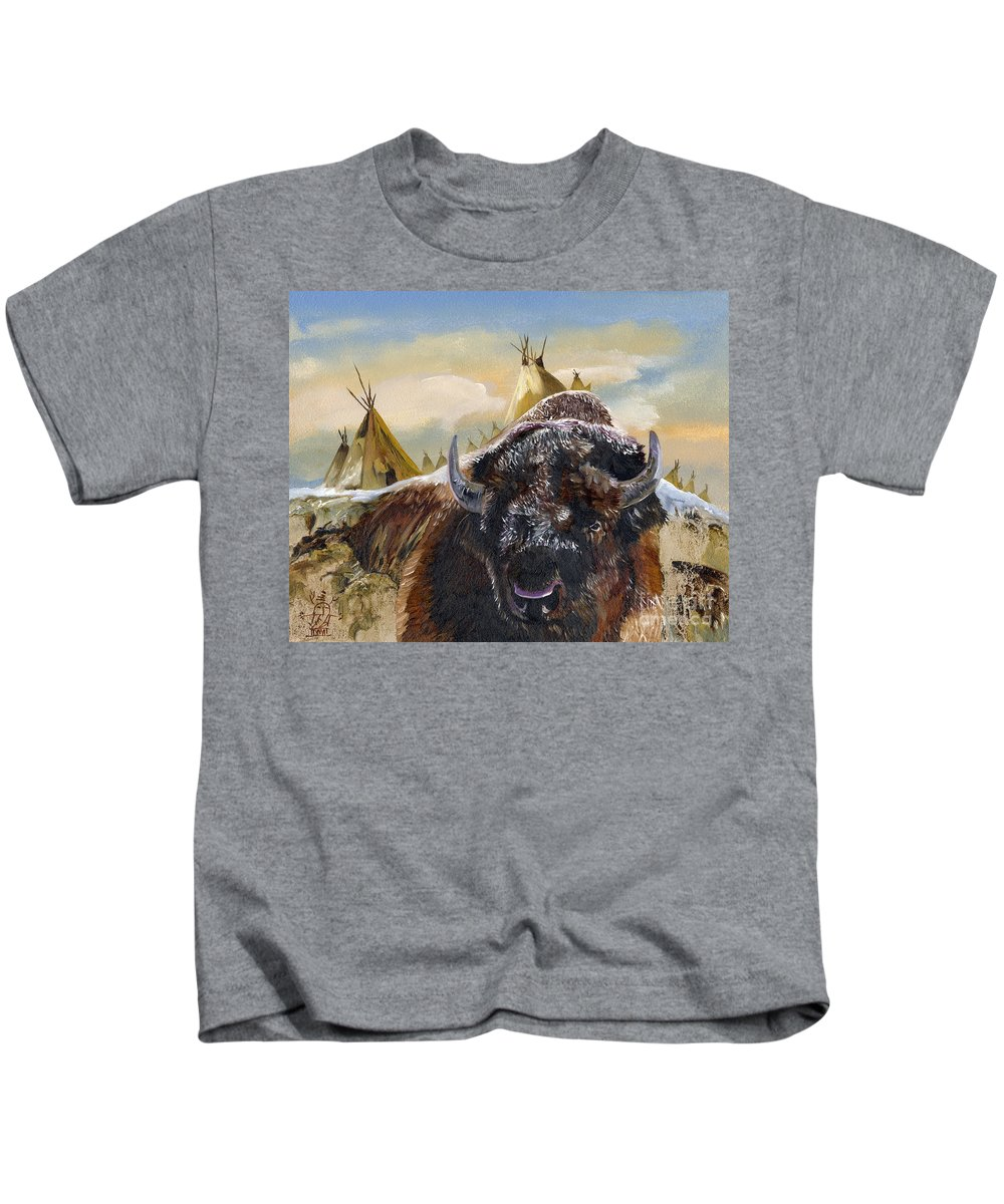 Bison Kids T-Shirt featuring the painting Feed The Fire by J W Baker