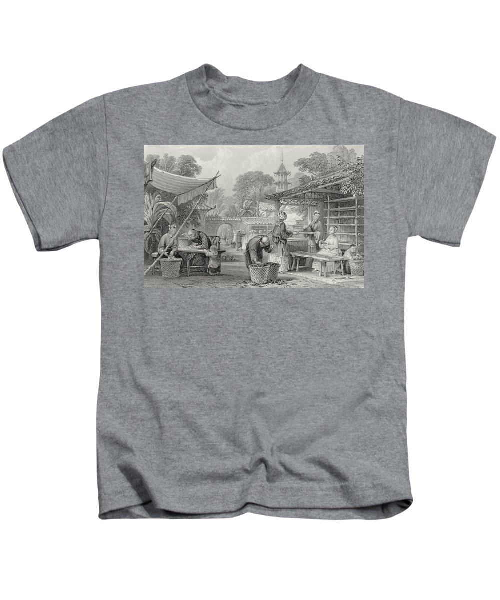Chinese Kids T-Shirt featuring the drawing Feeding Silkworms And Sorting Cocoons by Thomas Allom