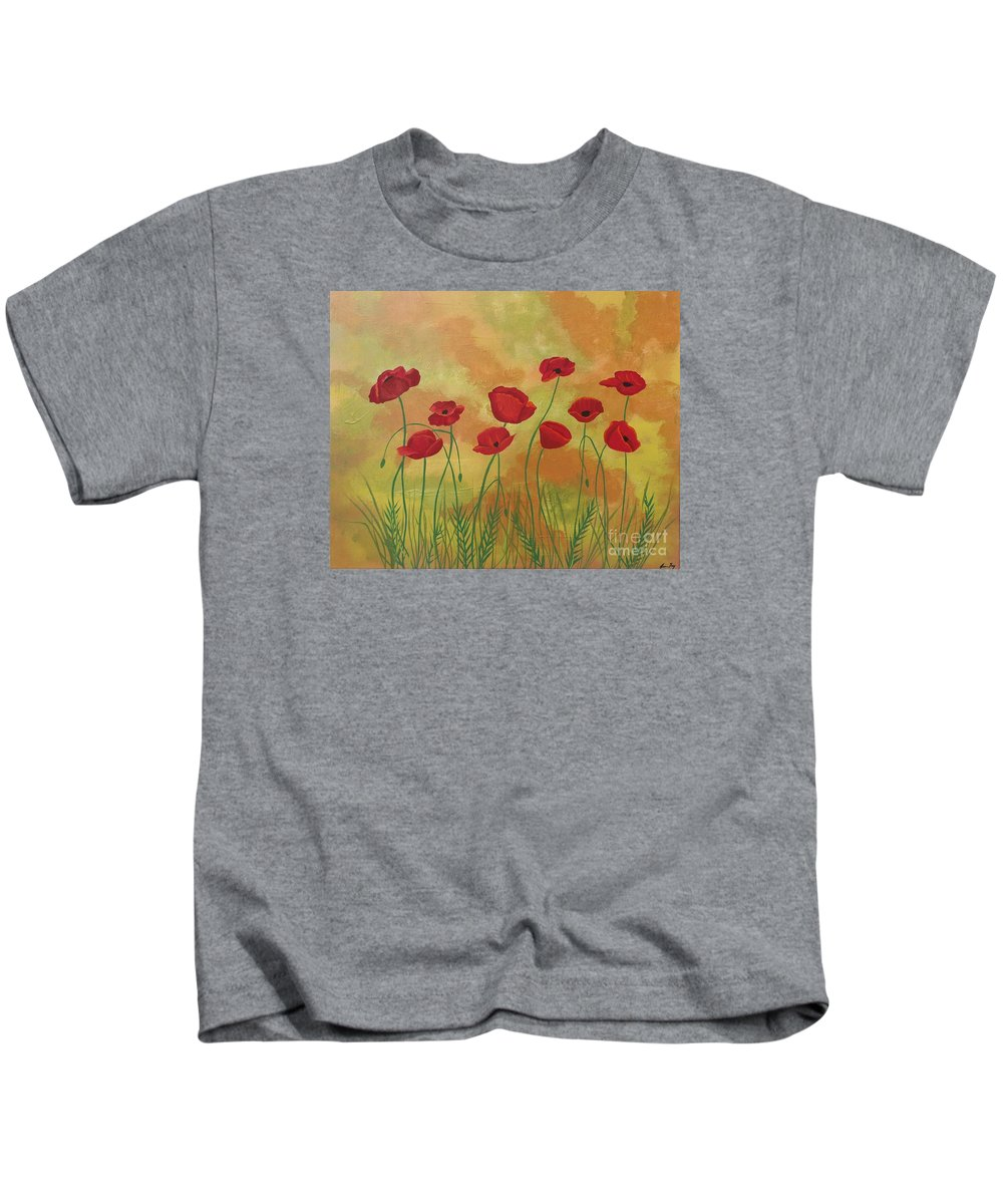 Red Poppies Kids T-Shirt featuring the painting Field Of Red Poppies by Jean Fry