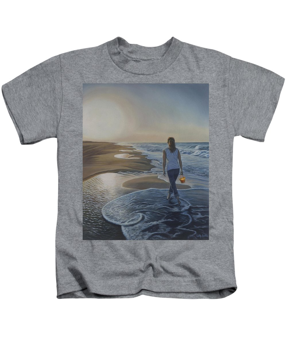 Realistic Kids T-Shirt featuring the painting Finding Her Treasure by Holly Kallie