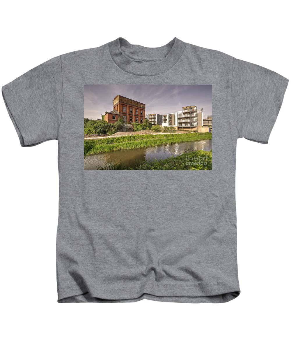 The Grand Western Canal Joined Here Immediatley To The Left Of The Water Tower ..    Firepool Lock Kids T-Shirt featuring the photograph Firepool Water Tower by Rob Hawkins