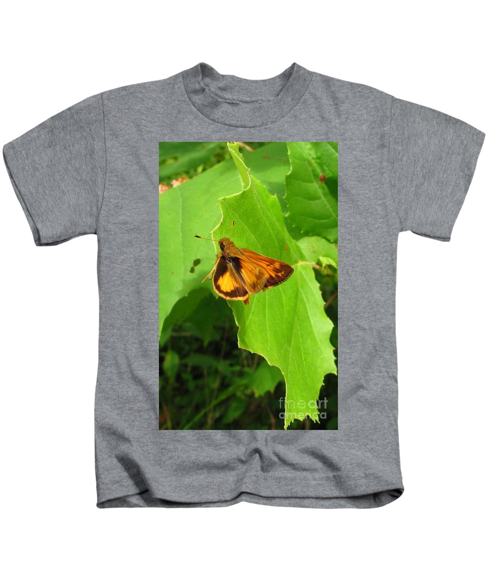 Firey Skipper Butterfly Images Butterfly Prints Nature Prints Naturalist Natural Science Meadow Ecosystem Maryland Butterfies American Butterflies Orange Butterflies Entomology Aerial Insect Images Pollinators Meadow Wildlife Wild Meadow Biodiversity Preservation Forest Flora Oldgrowth Forest Conservation Colorful Critter Prints Office Art Wall Art Green Design Green Interior Design Nature Photography Orange Butterfly Identification Forest Creatures Bugs Natural World Nature Walk Kids T-Shirt featuring the photograph Firey Skipper Butterfly by Joshua Bales
