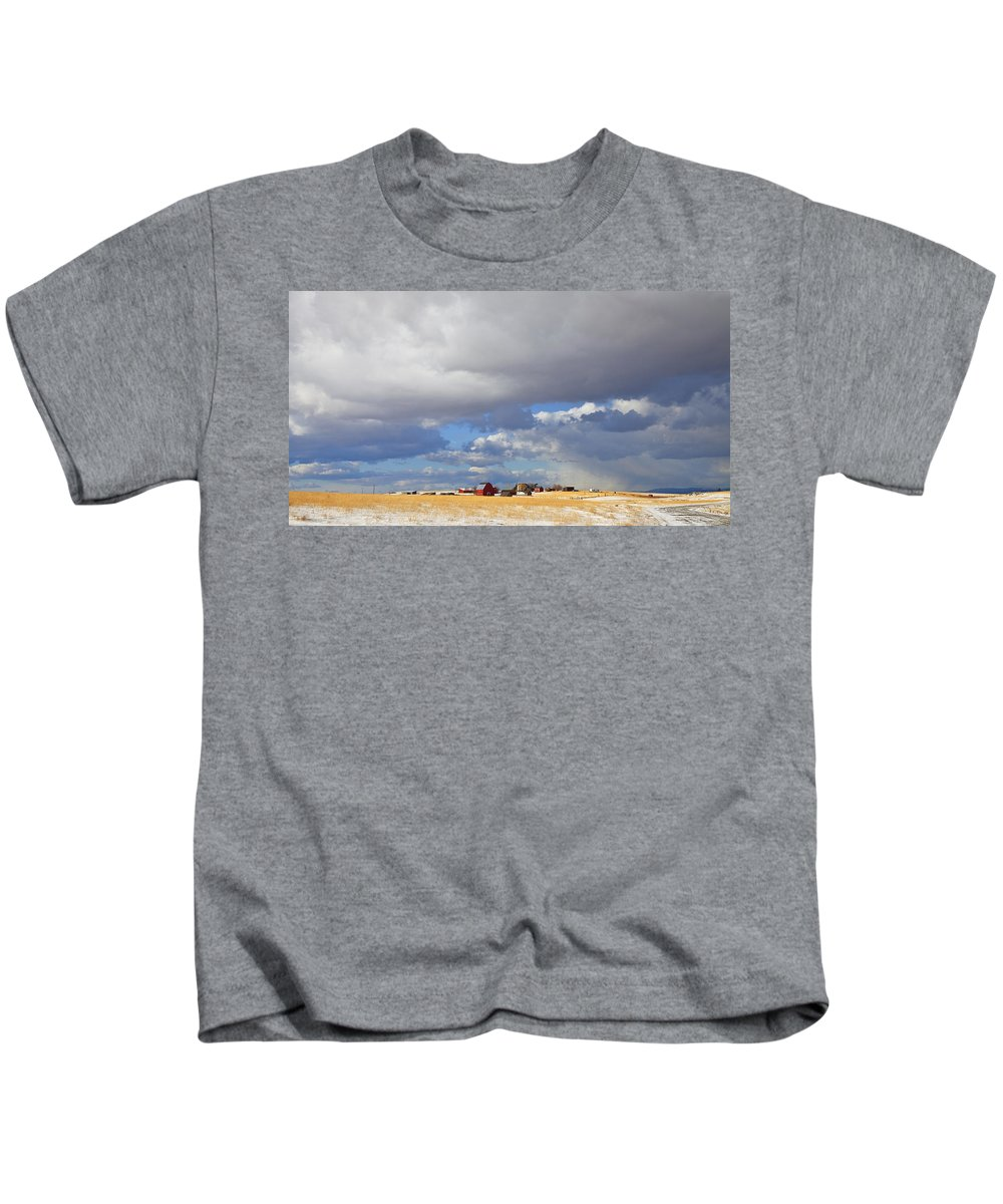 Farm Kids T-Shirt featuring the photograph First Snow On Storybook Farm by Theresa Tahara