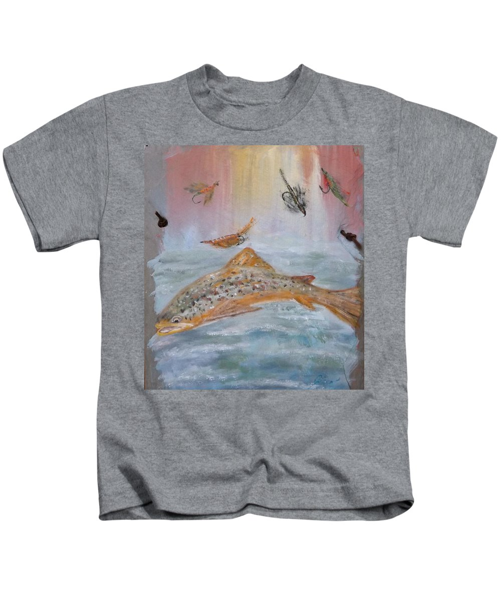 Fish Kids T-Shirt featuring the painting Fish With Bait by Gino Didio
