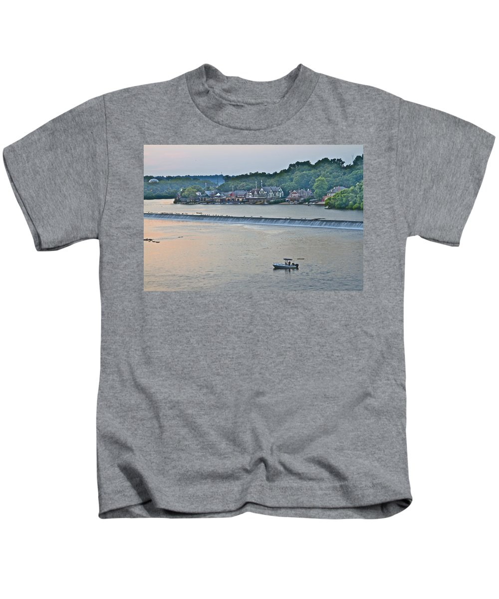 Boathouse Row Kids T-Shirt featuring the photograph Fishing At Boathouse Row by Alice Gipson