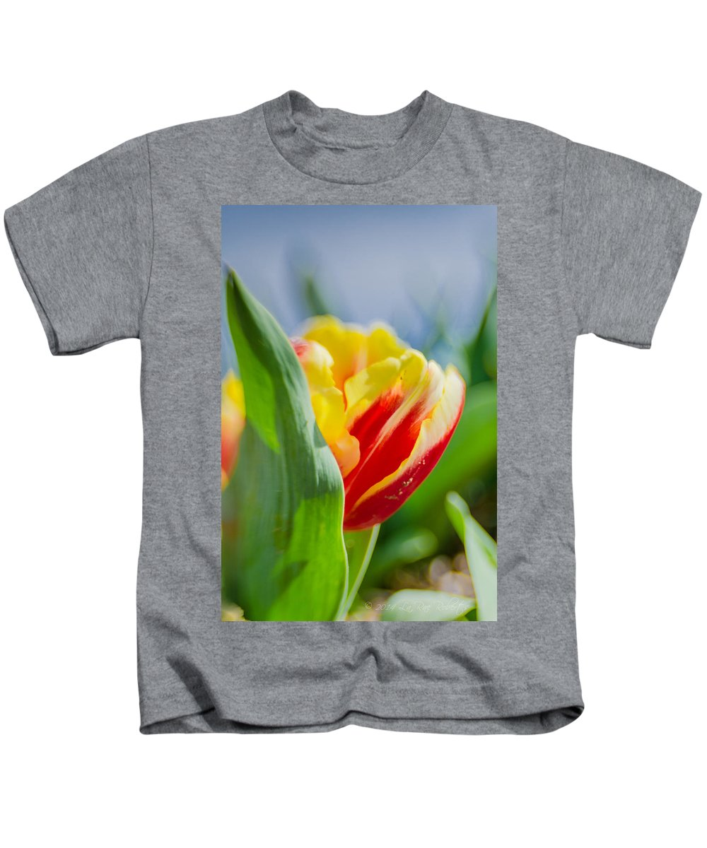 Farm Kids T-Shirt featuring the photograph Flame Leaf Tulip by La Rae Roberts