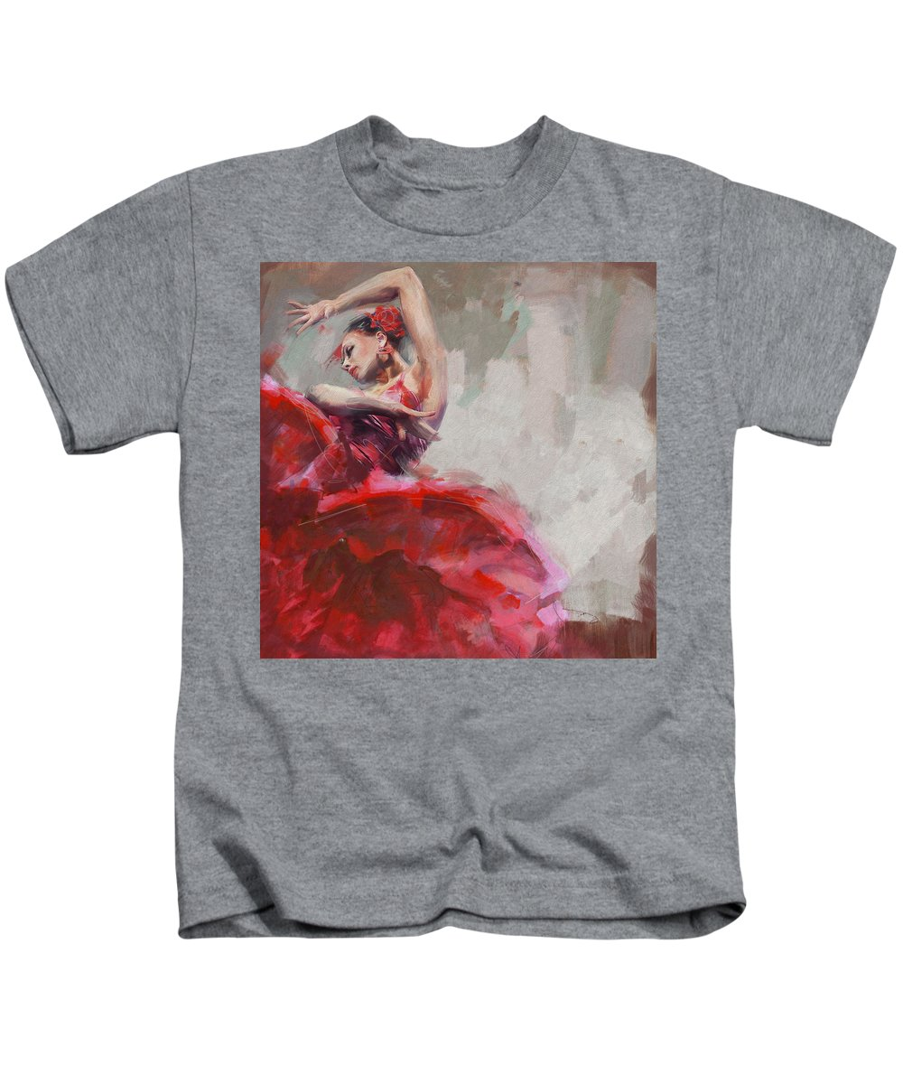 Jazz Kids T-Shirt featuring the painting Flamenco 53 by Maryam Mughal