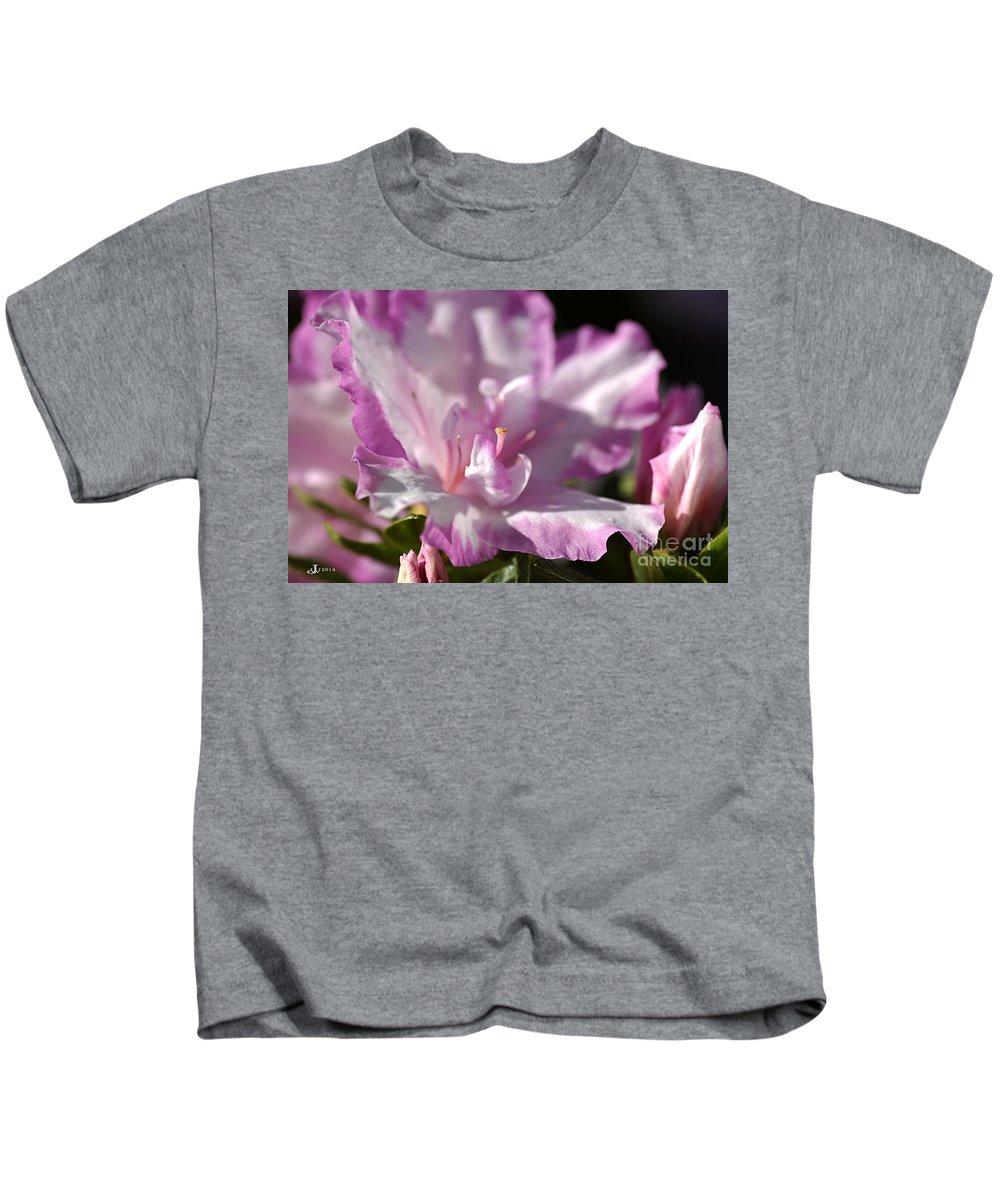 Flower Kids T-Shirt featuring the photograph Flower--azalea-white-pink by Joy Watson