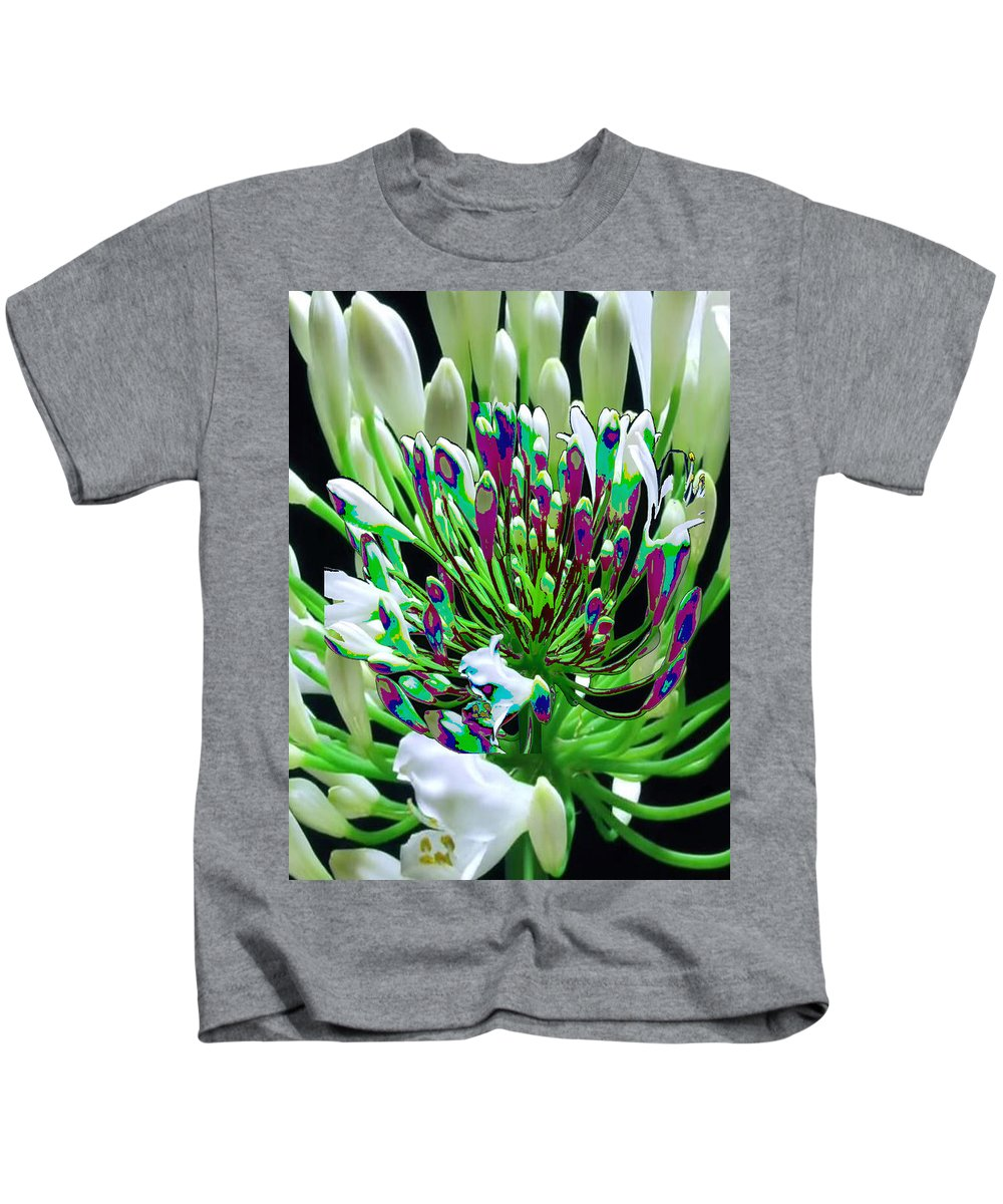 Sensual Kids T-Shirt featuring the mixed media Flower Bunch Bush Sensual Exotic Valentine's Day Gifts by Navin Joshi