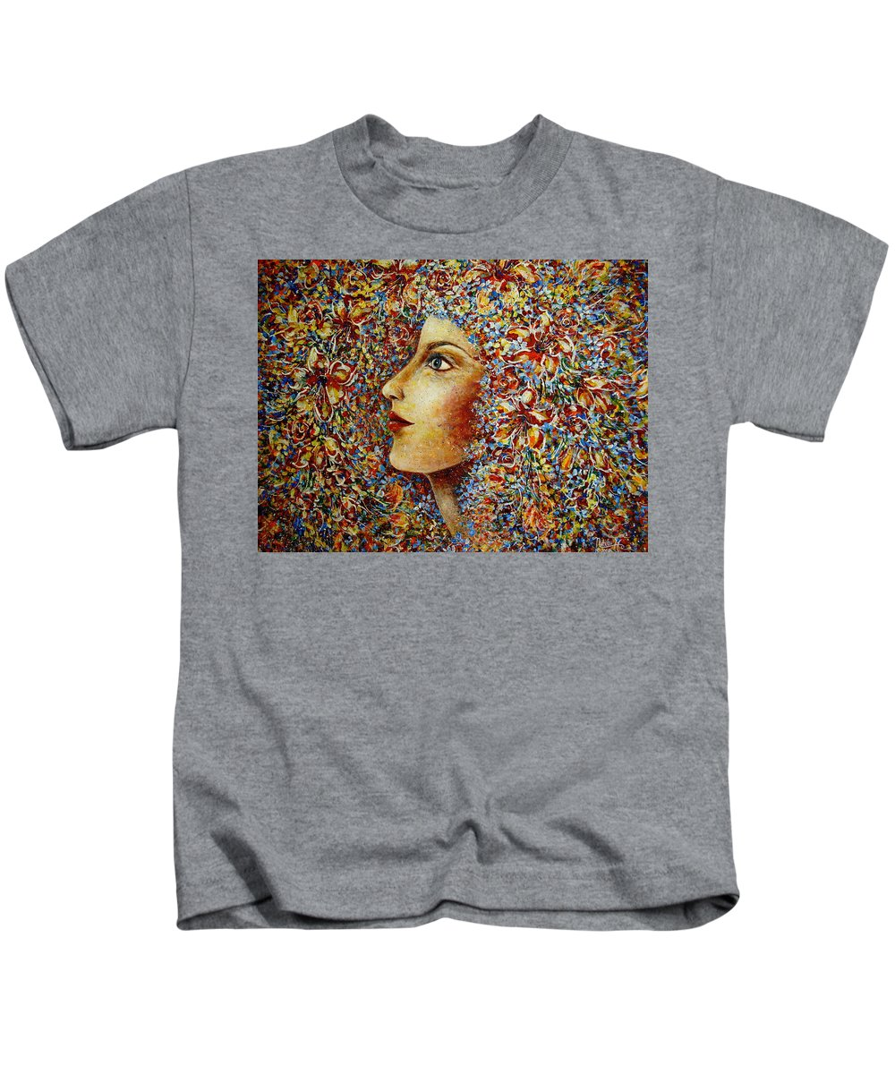 Flower Goddess Kids T-Shirt featuring the painting Flower Goddess. by Natalie Holland