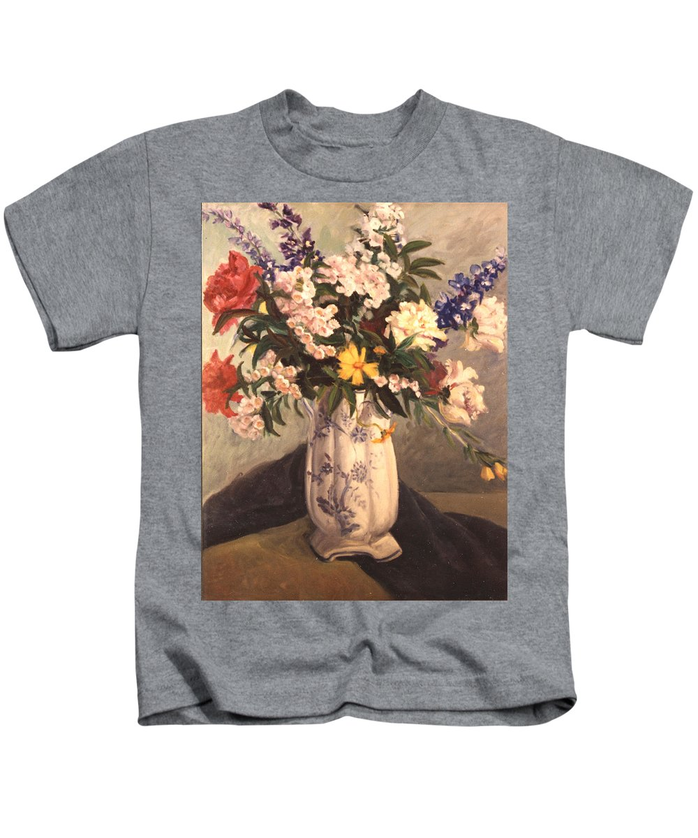 Flowers Kids T-Shirt featuring the painting Floral 2 by Joan Columbus
