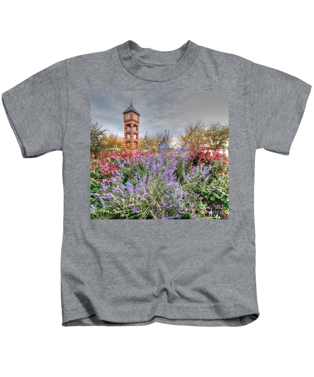 Clock Tower Kids T-Shirt featuring the photograph Flowers - Clock Tower by L Wright