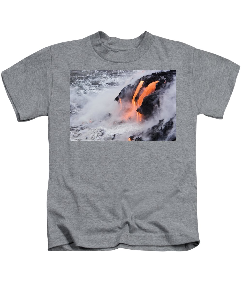 Active Kids T-Shirt featuring the photograph Flowing Pahoehoe Lava by Ron Dahlquist - Printscapes