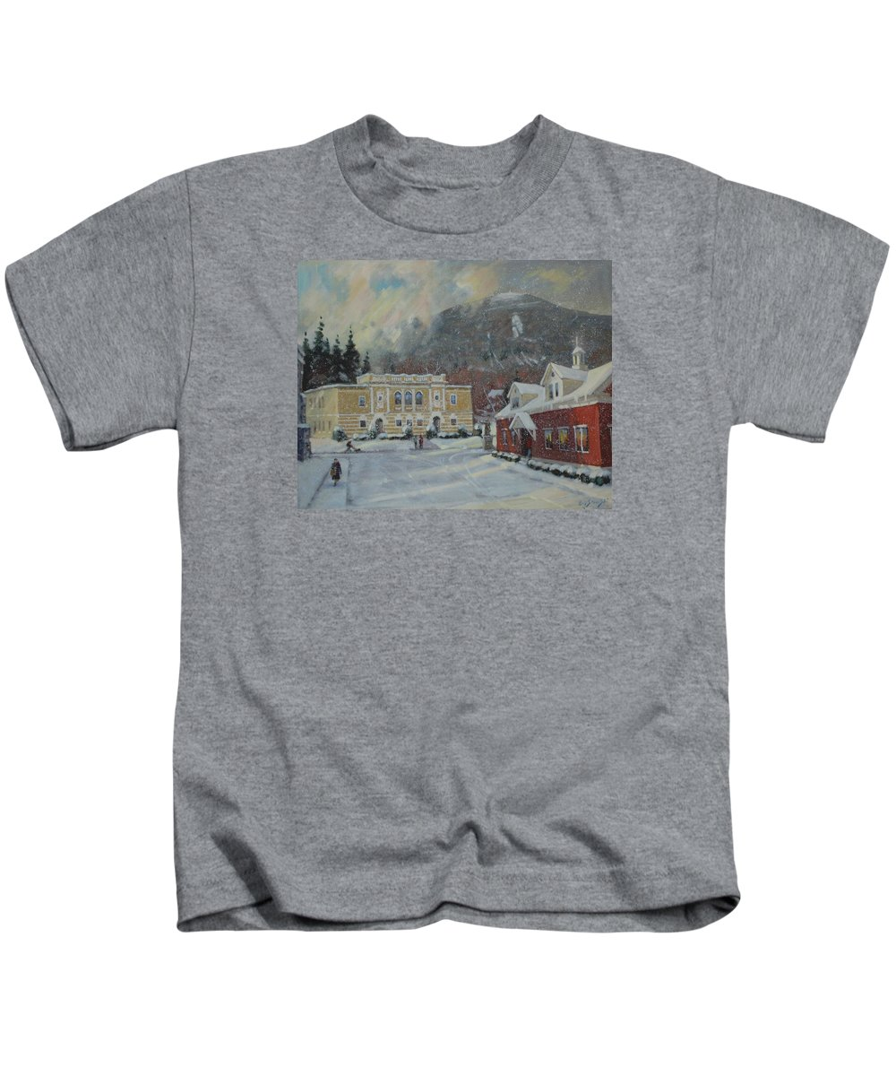 Berkshire Hills Paintings Kids T-Shirt featuring the painting Flurries Over Mount Greylock by Len Stomski