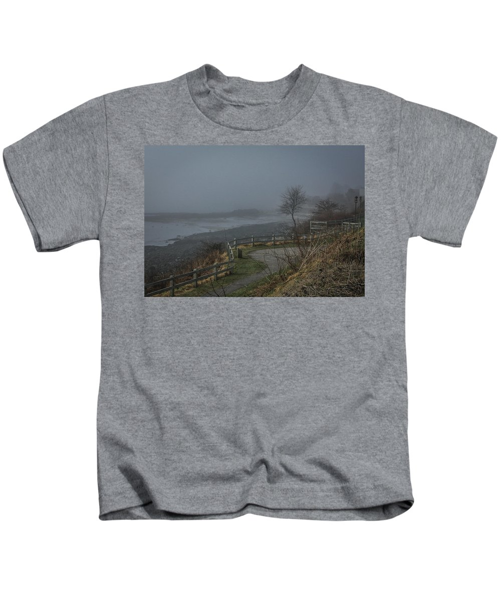 Maine Kids T-Shirt featuring the photograph Foggy Coast by Jane Luxton