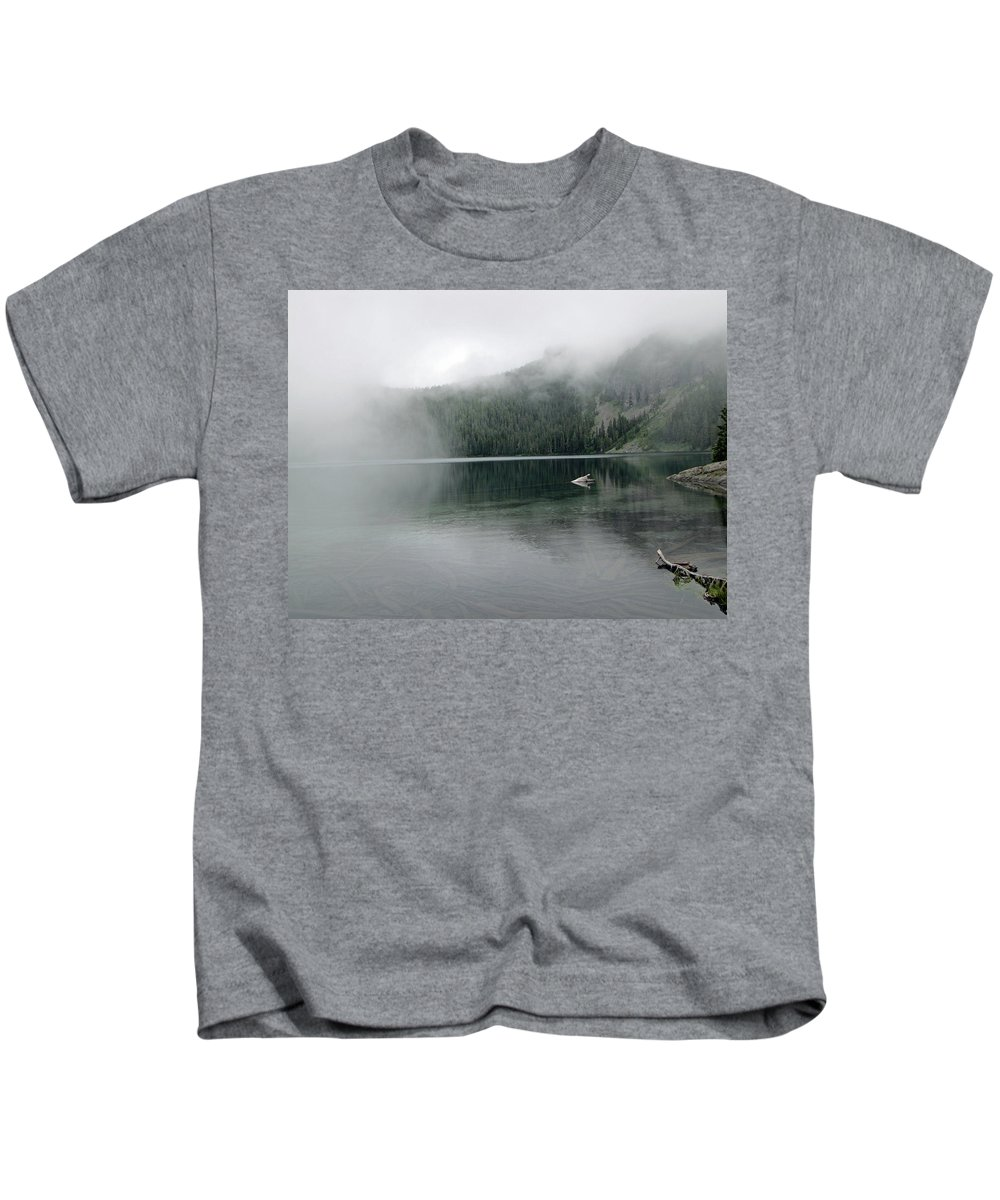 Mowich Lake Kids T-Shirt featuring the photograph Foggy Mowich Lake by Tikvah's Hope