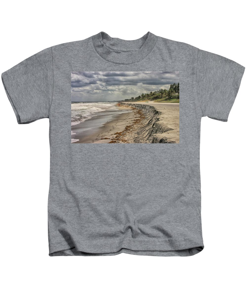 Beach Scene Kids T-Shirt featuring the photograph Footprints In The Sand by Dennis Baswell