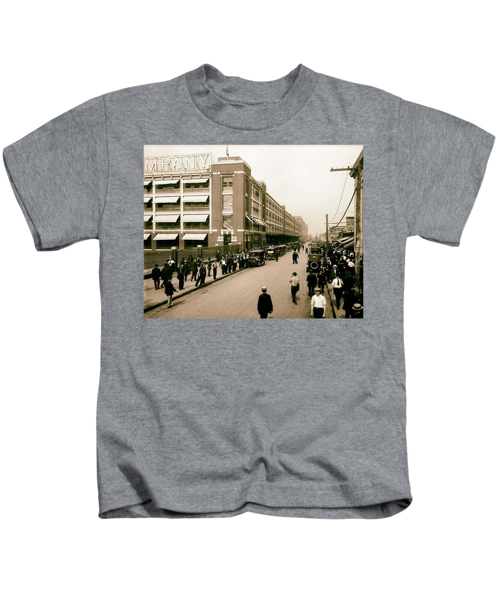 Detroit Kids T-Shirt featuring the photograph Ford Work Shift Change - Detroit 1916 by Mountain Dreams
