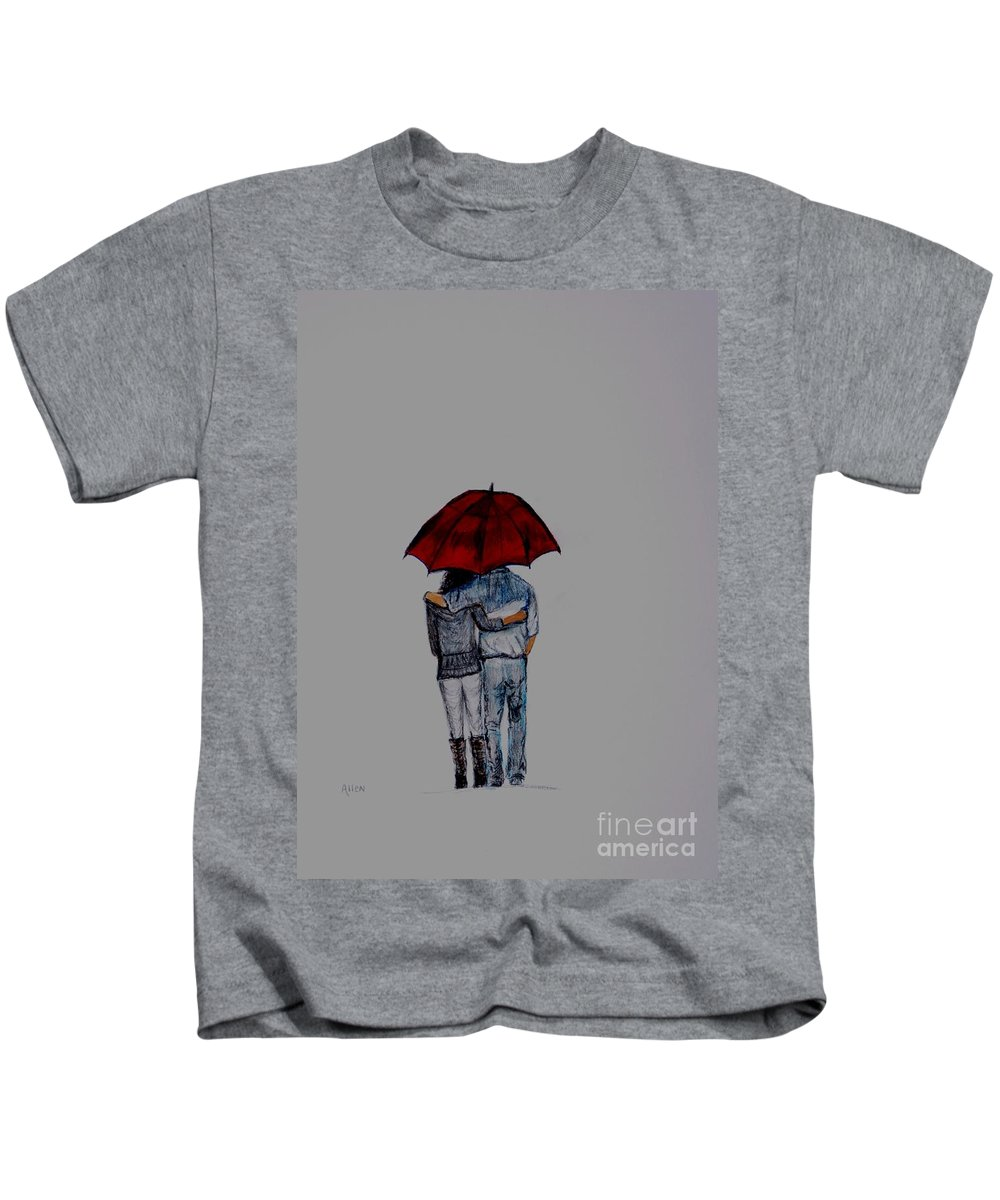 Couple Painting Kids T-Shirt featuring the painting Forever By Your Side Series II by Leslie Allen