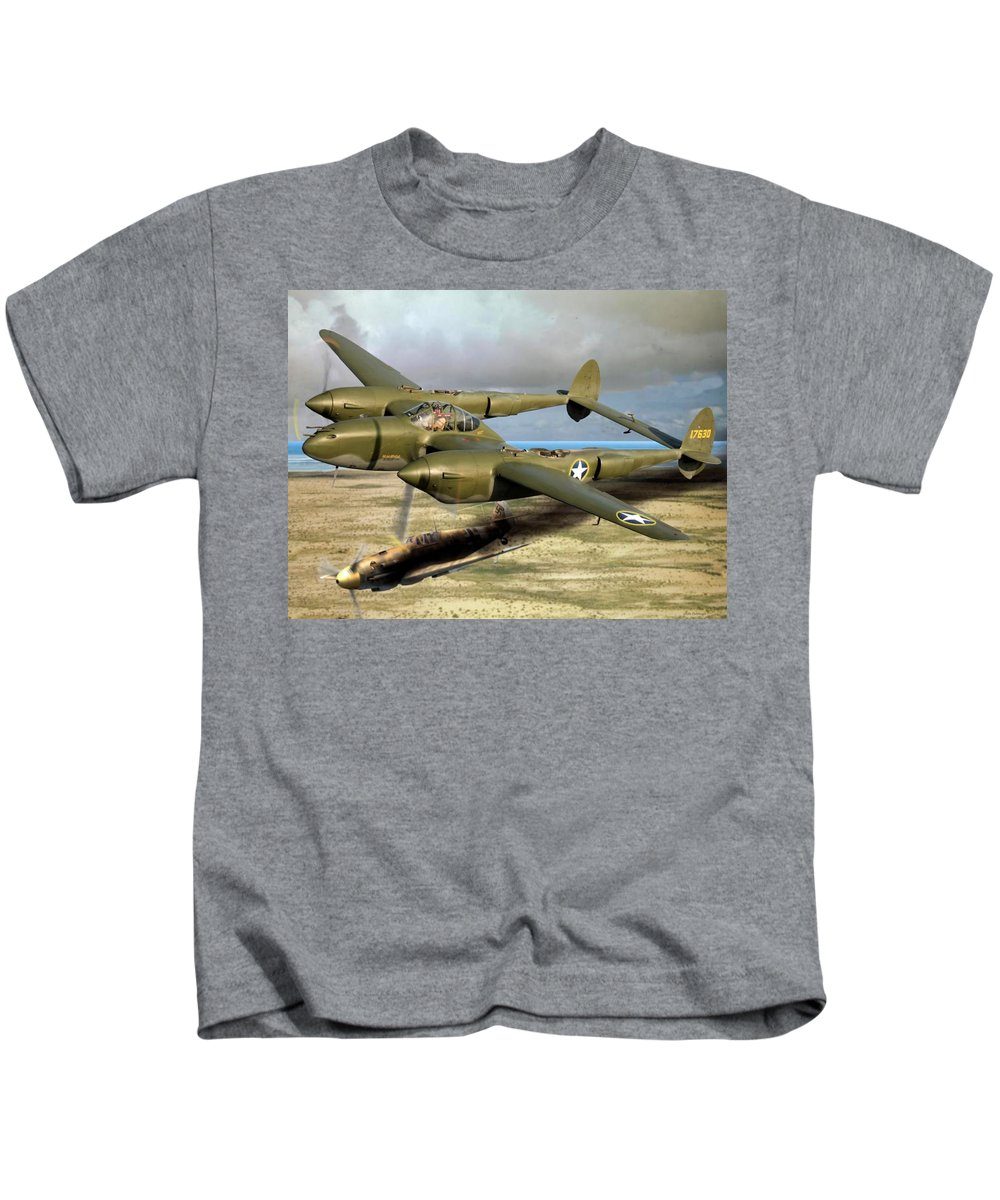 P-38 Kids T-Shirt featuring the digital art Fork Tailed Devil by Mil Merchant